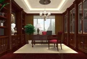 红木沉稳美式书房装修效果图