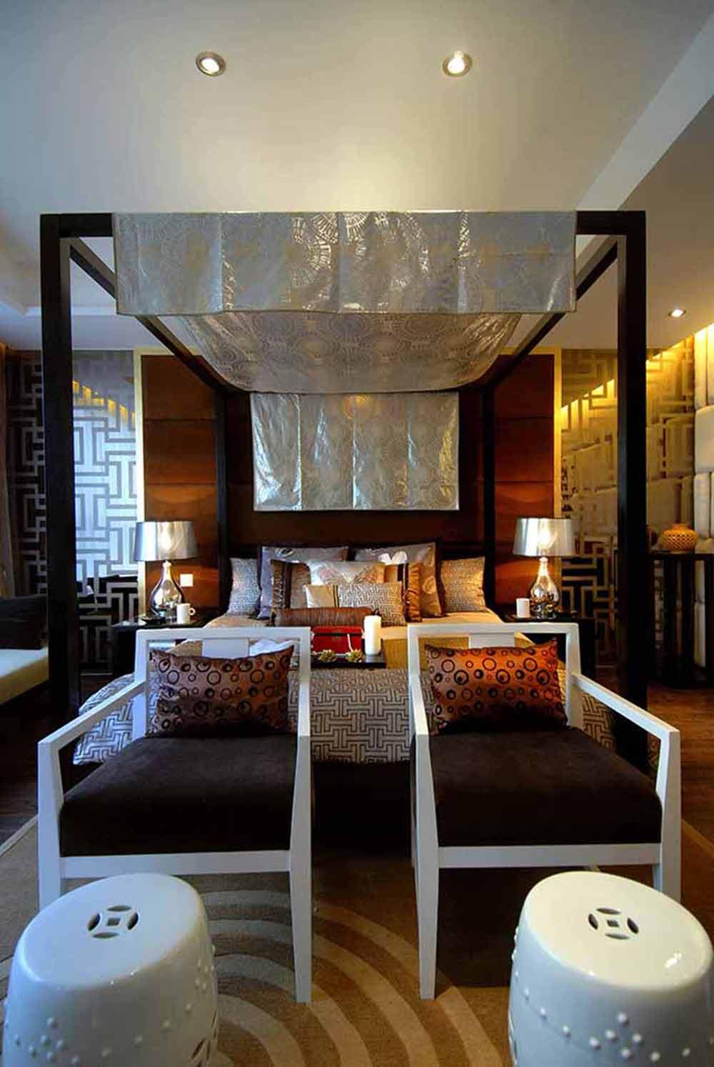 现代元素中式卧室装修效果图
