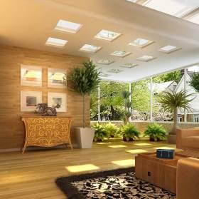 黄色简约木质阳台装潢