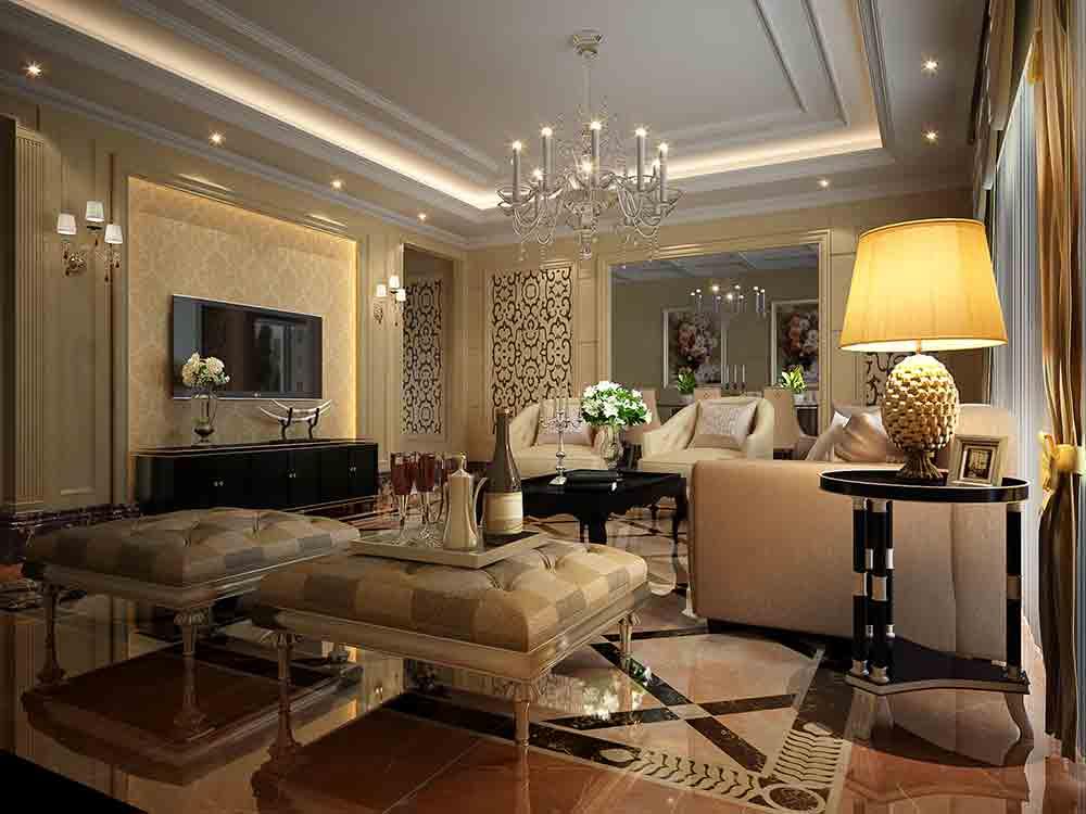 白色客厅欧式风格装修效果图