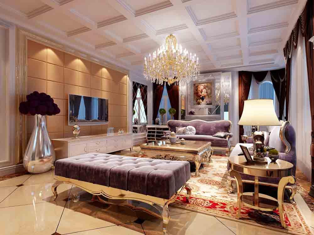 白色豪华欧式风格吊顶图片