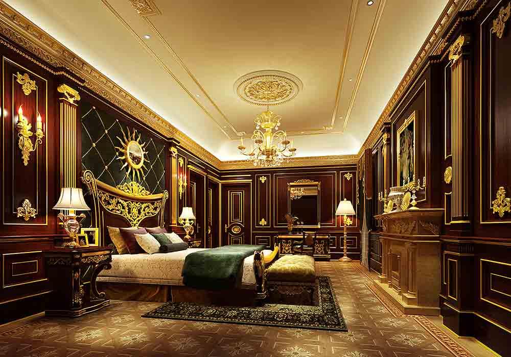 奢侈红色欧式风格卧室欣赏