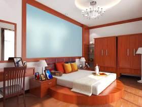 原木色雅致中式风格卧室装潢设计图