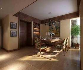 原木色典雅东南亚风格餐厅装潢设计图