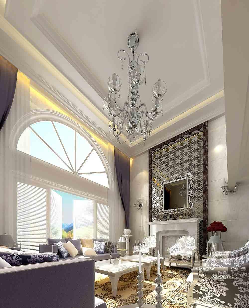 白色清新简欧风格客厅装修效果图