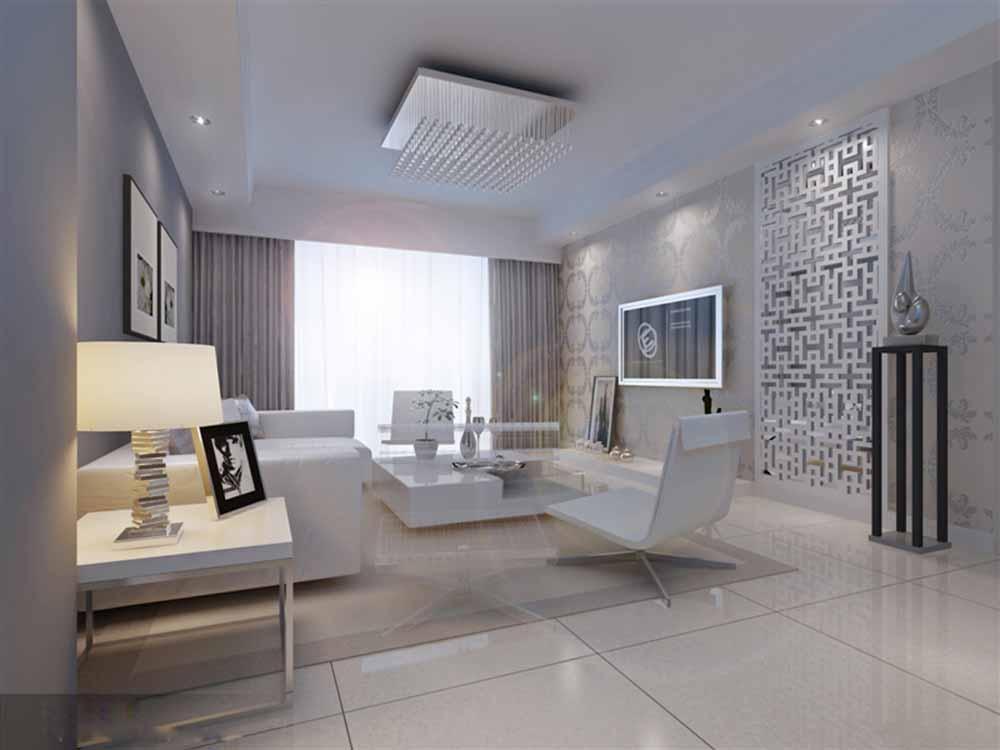 装修美图 白色现代素雅客厅装修效果图  免费户型设计 3家优质装修