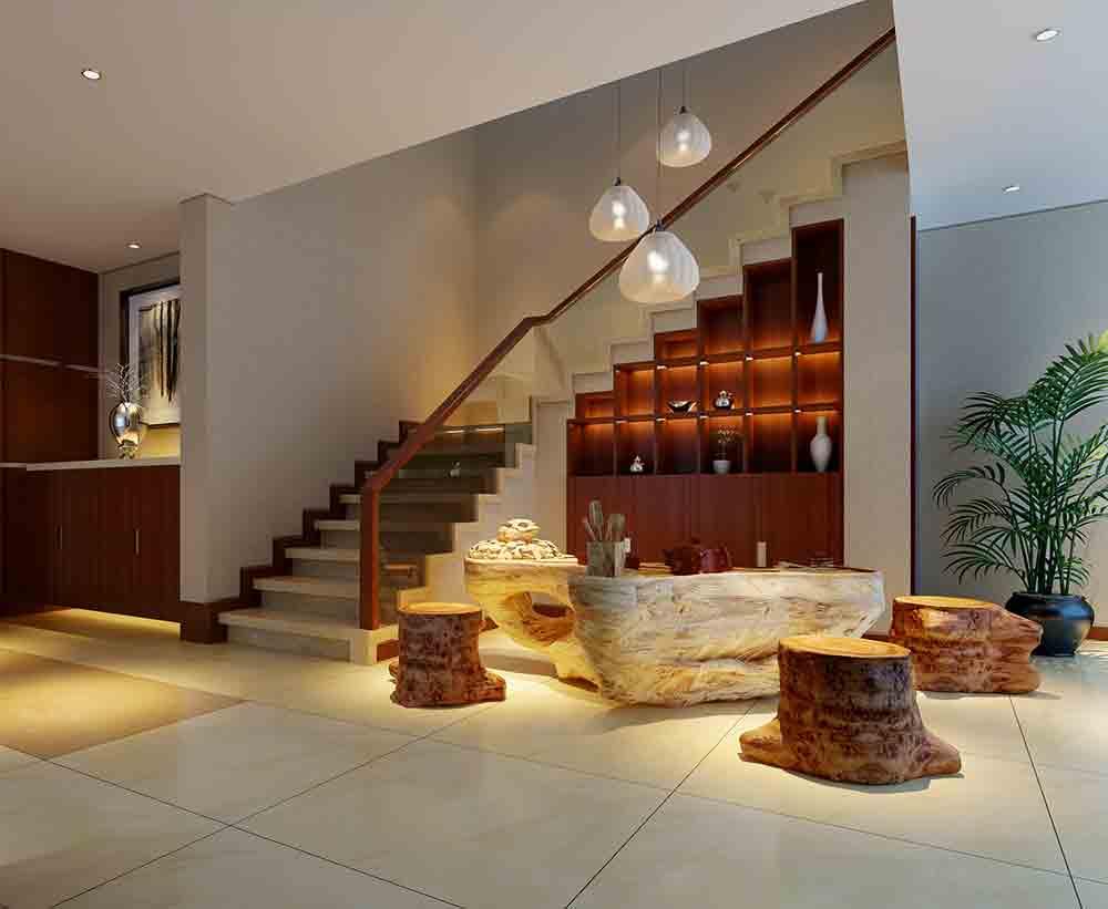 中式现代原木客厅装修效果欣赏