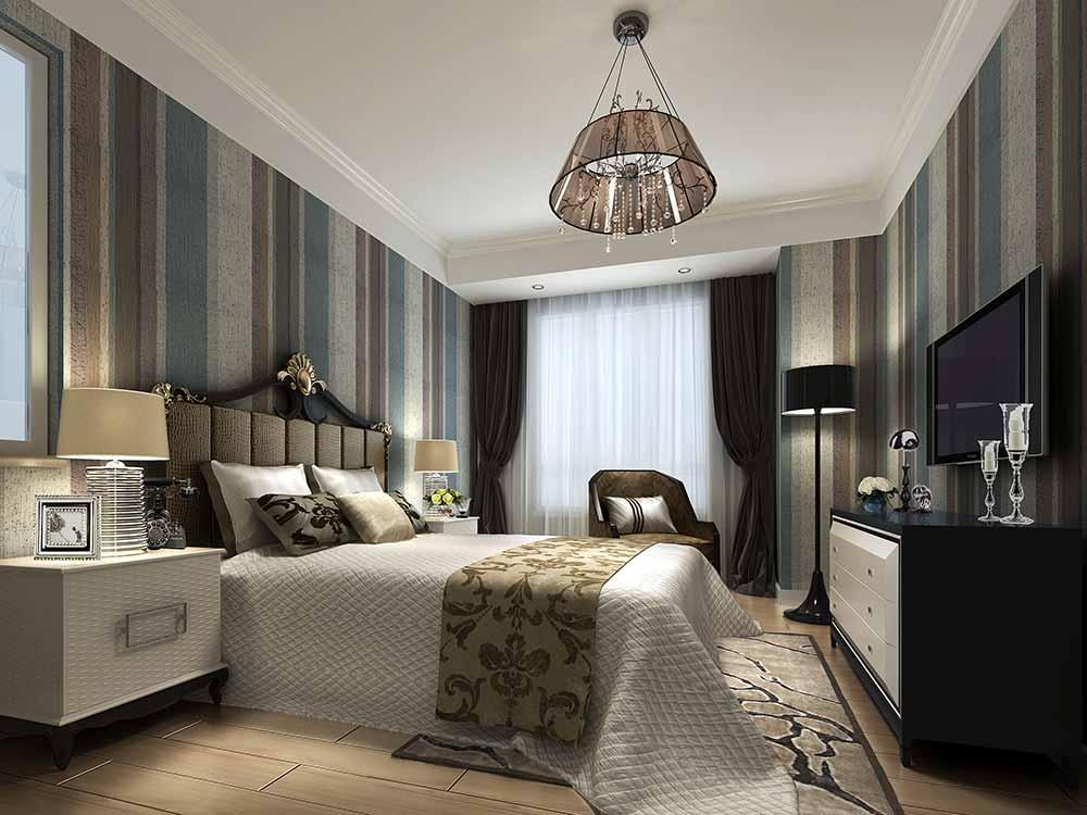 现代美式卧室装修设计图图片