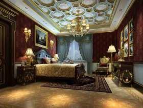 深红色美式卧室华丽装潢