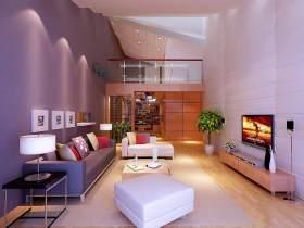 大紫色现代客厅设计效果图