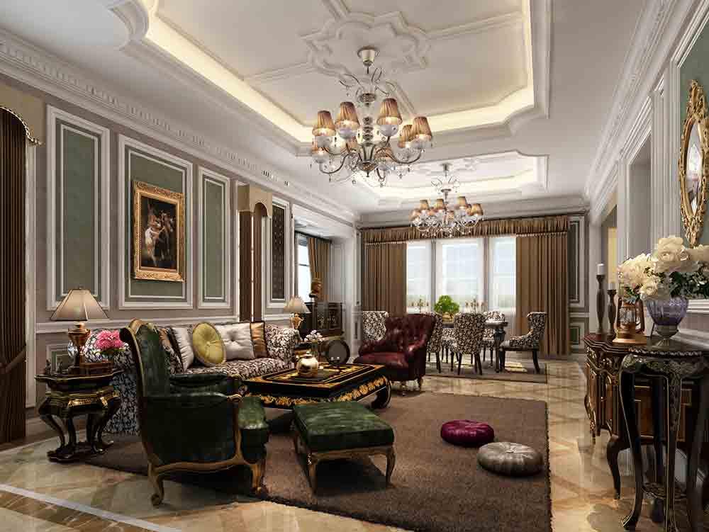 古典欧式风格客厅装潢设计欣赏-兔狗装修效果图