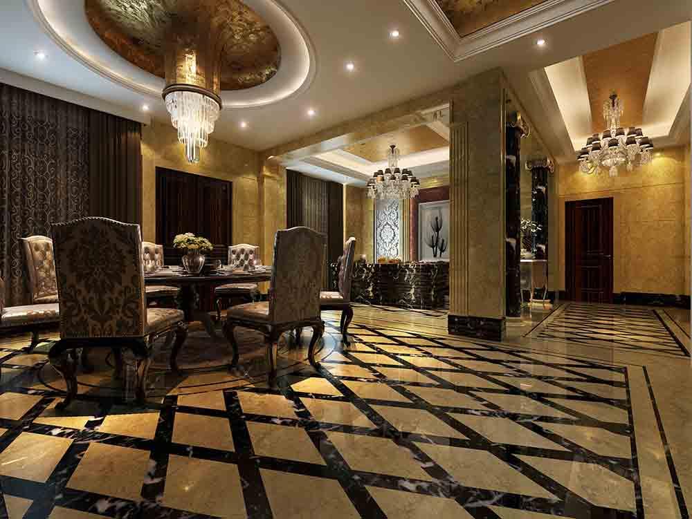 欧式别墅餐厅设计全景图片