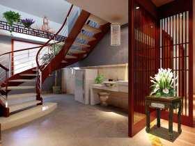 中式风格旋转式楼梯通透装潢设计