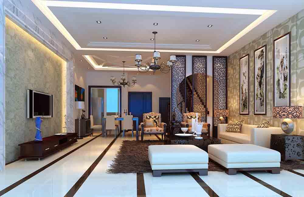 中式精致高端别墅客厅设计