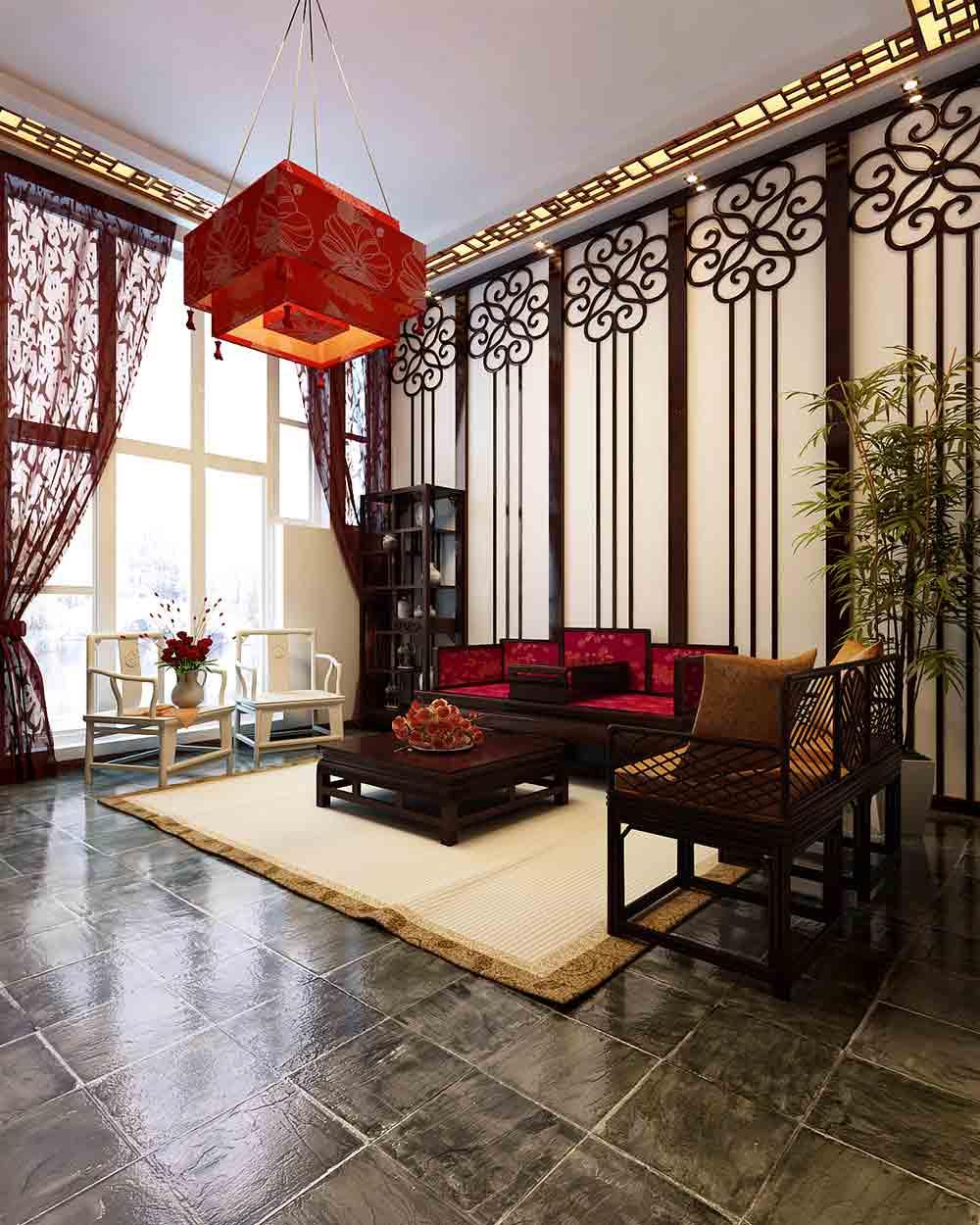 中式精致宫殿风格客厅装修设计