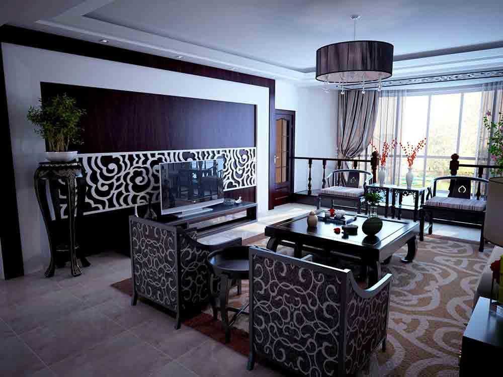 时尚中式风格客厅装修案例欣赏