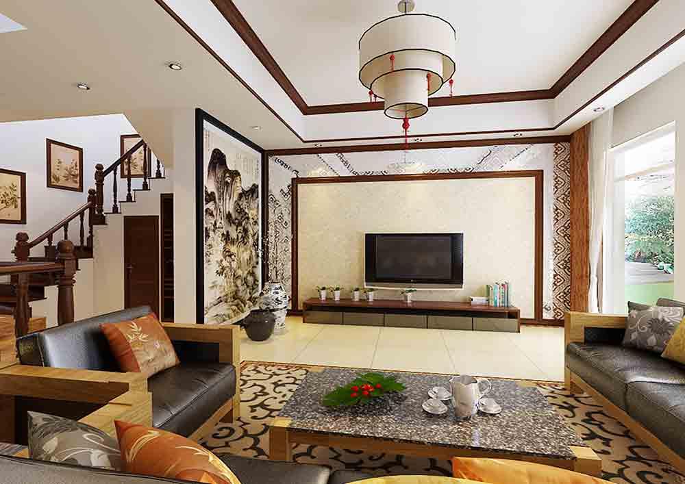 装修美图 中式客厅装修整体效果实例  免费户型设计 3家优质装修公司