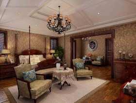 2016美式风格大气别墅卧室装潢图片