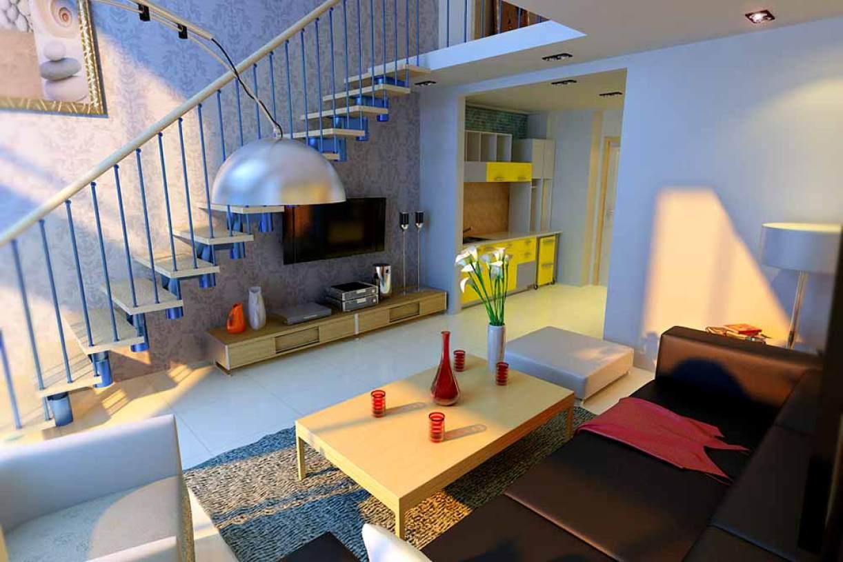 简约时尚复式公寓客厅设计效果图-兔狗装修效果图