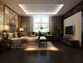 中式风格文艺雅致卧室装潢整体效果图
