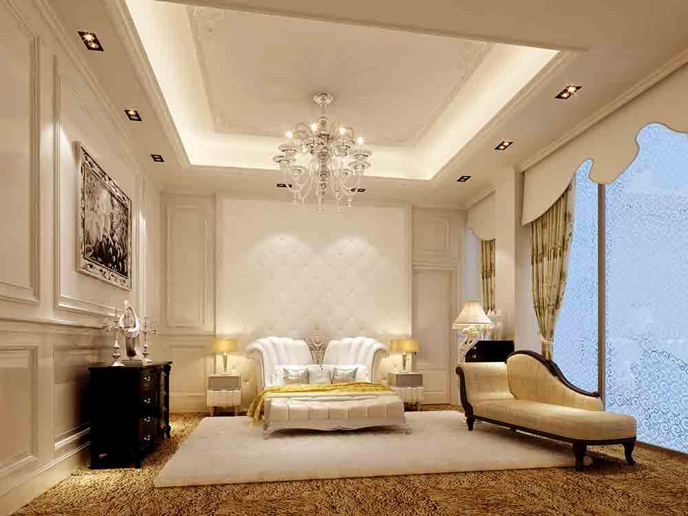 欧式白色基调纯净明亮客厅装潢-兔狗装修效果图