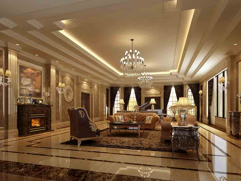 2016新古典风格时尚奢华客厅装修全景图片