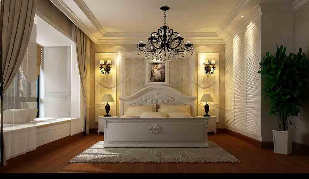 欧式明亮采光卧室装潢设计
