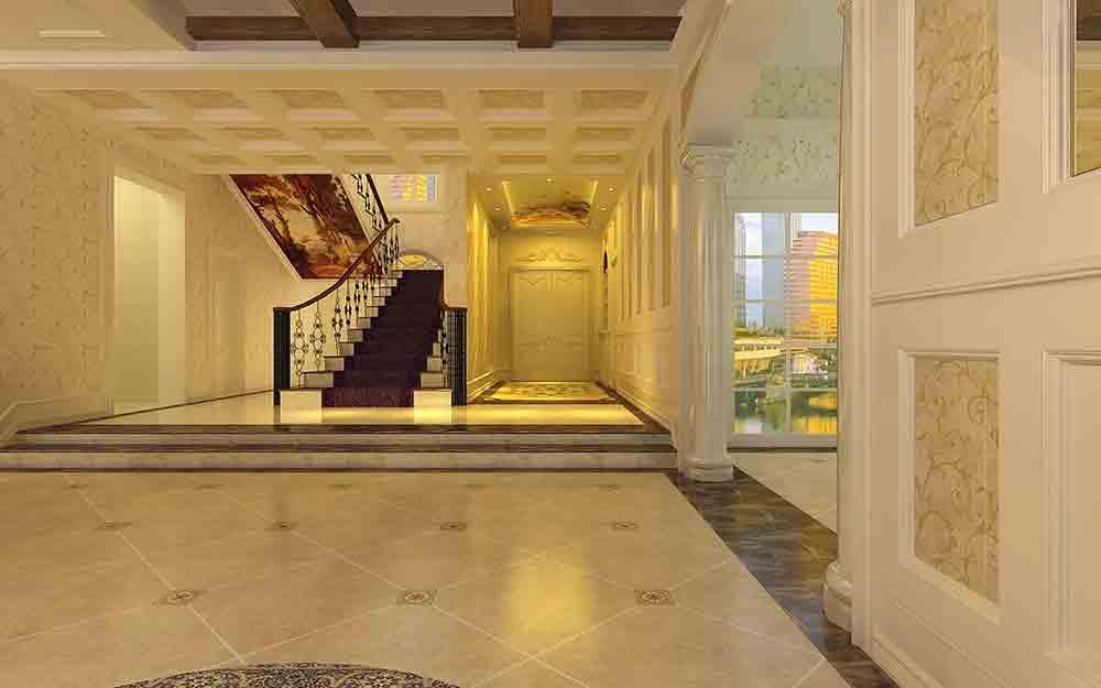 欧式大气别墅楼梯设计远景效果图