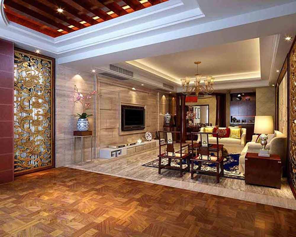 富贵中式客厅装修整体效果图