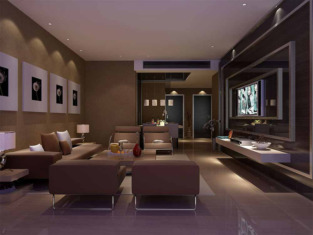 现代暗黄色客厅装潢效果图