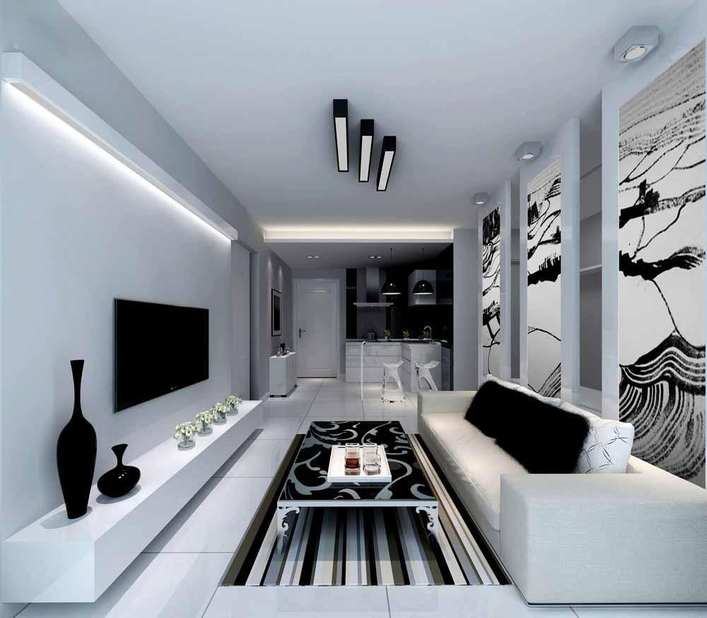 现代极简客厅装修设计-兔狗装修效果图