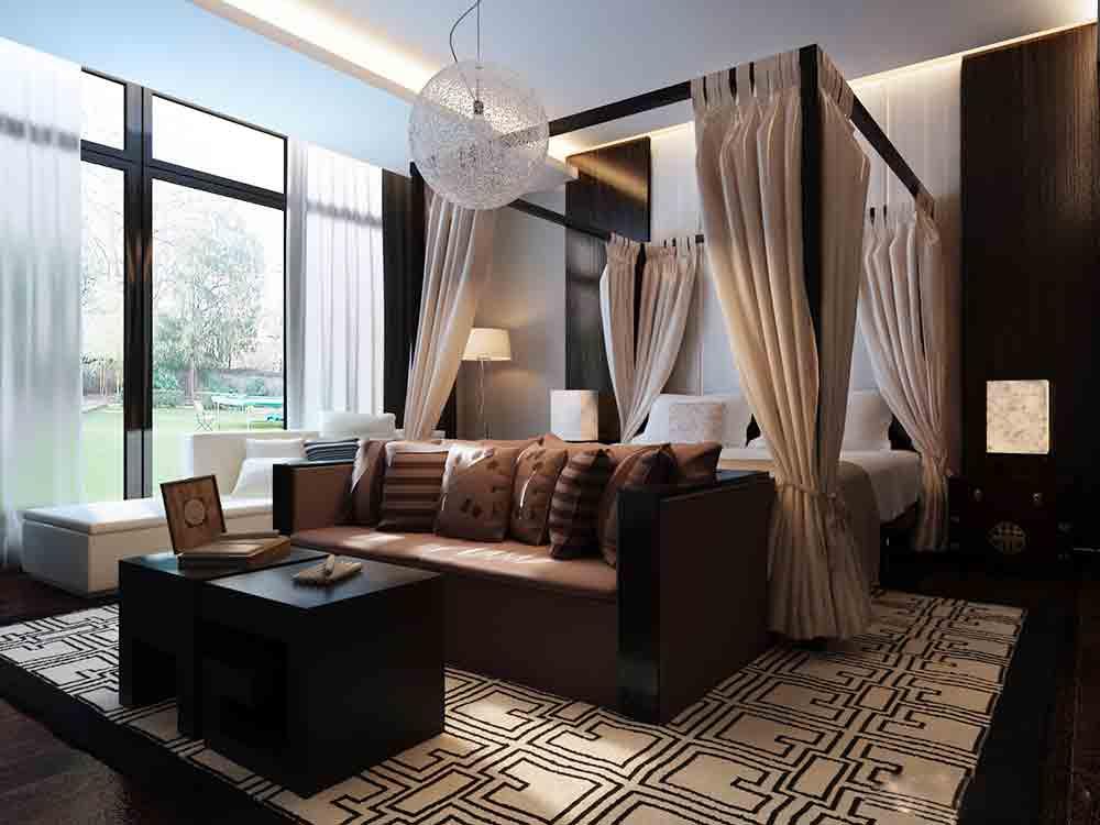 现代中式卧室装修案例图片