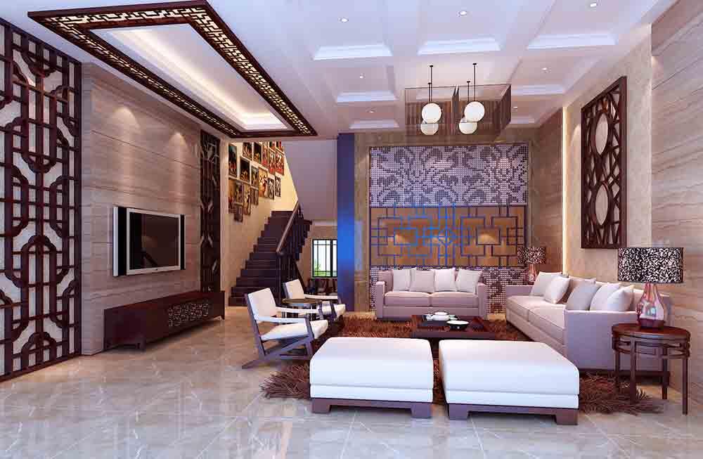 装修美图 中式客厅装修设计图欣赏  免费户型设计 3家优质装修公司