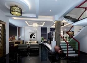 现代中式风格客厅楼梯装饰效果图