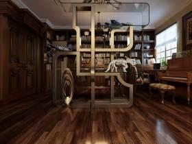 2016美式复古书房隔断设计效果图