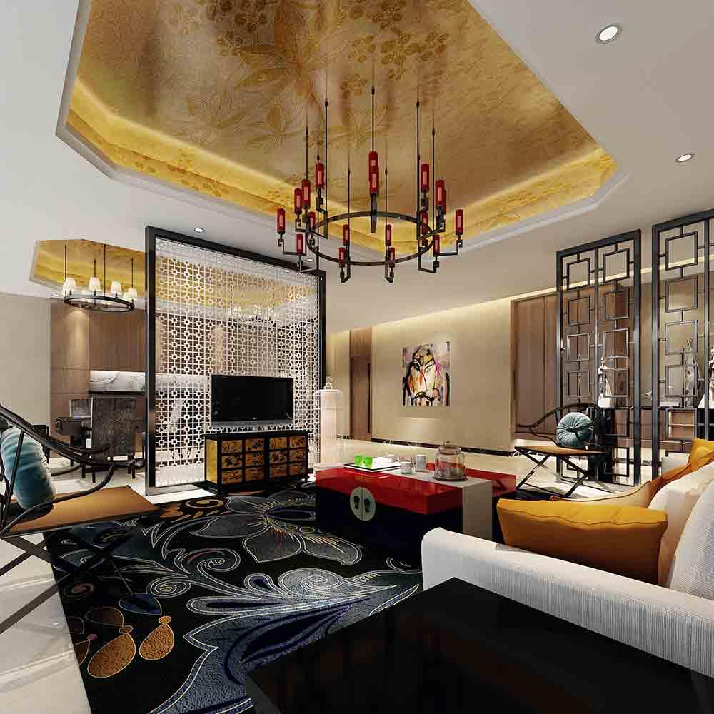 2015现代中式客厅装潢设计