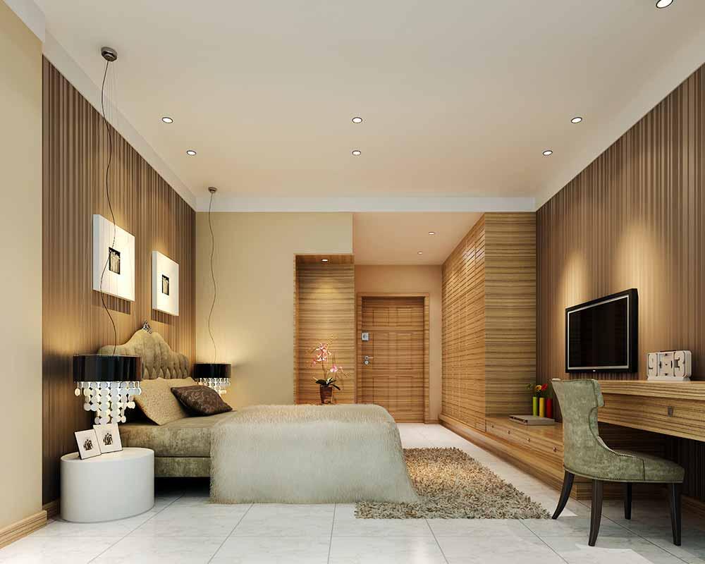 简约质朴黄色卧室装修效果图