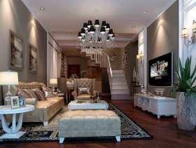 新古典风格深沉雅致复式客厅设计效果图