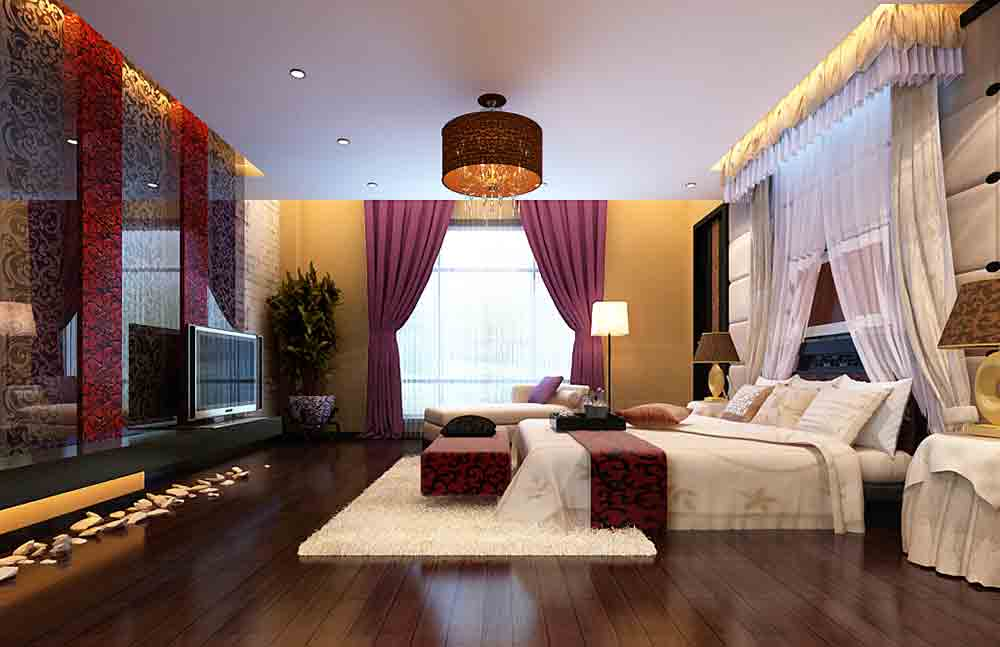 中式华美大气卧室装修实例-兔狗装修效果图