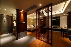 中式风格屏风式玄关设计