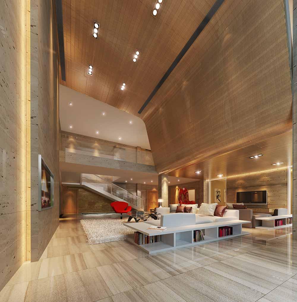 2016大气高端现代风格别墅客厅全景效果图