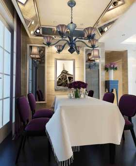 紫色欧式高雅餐厅装修布置