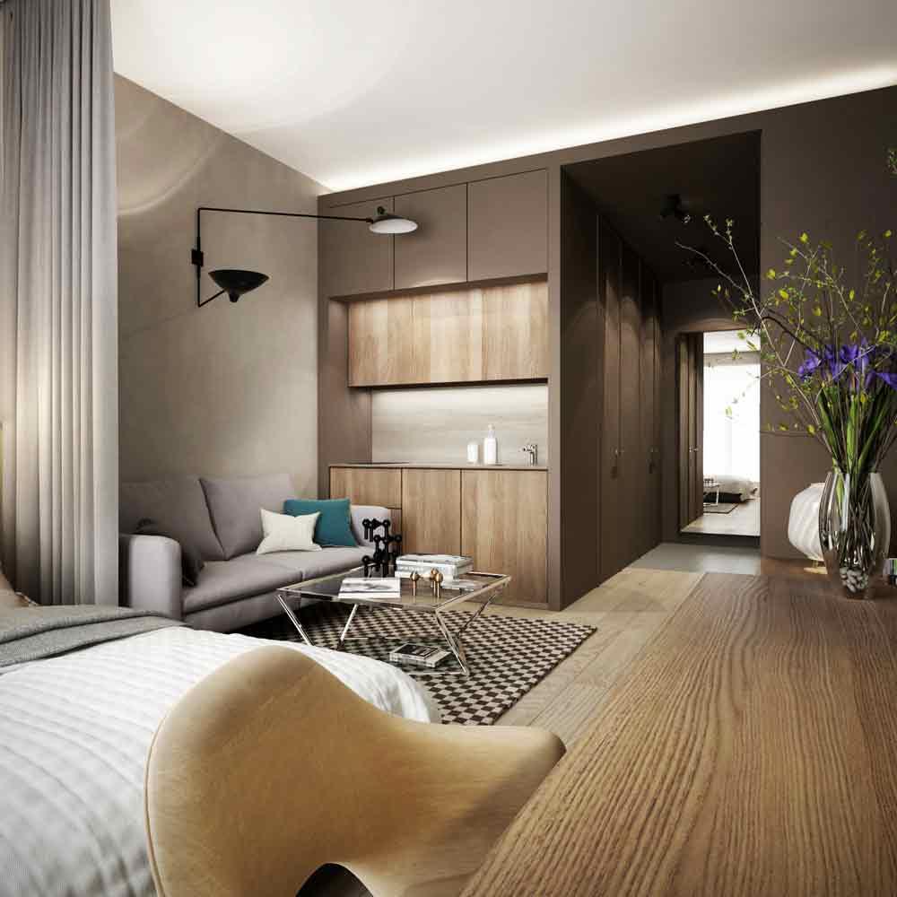 灰色简约木地板客厅装潢效果图