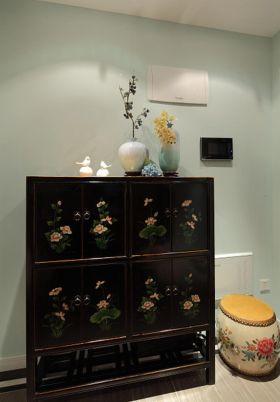 素色中式花色收纳柜设计