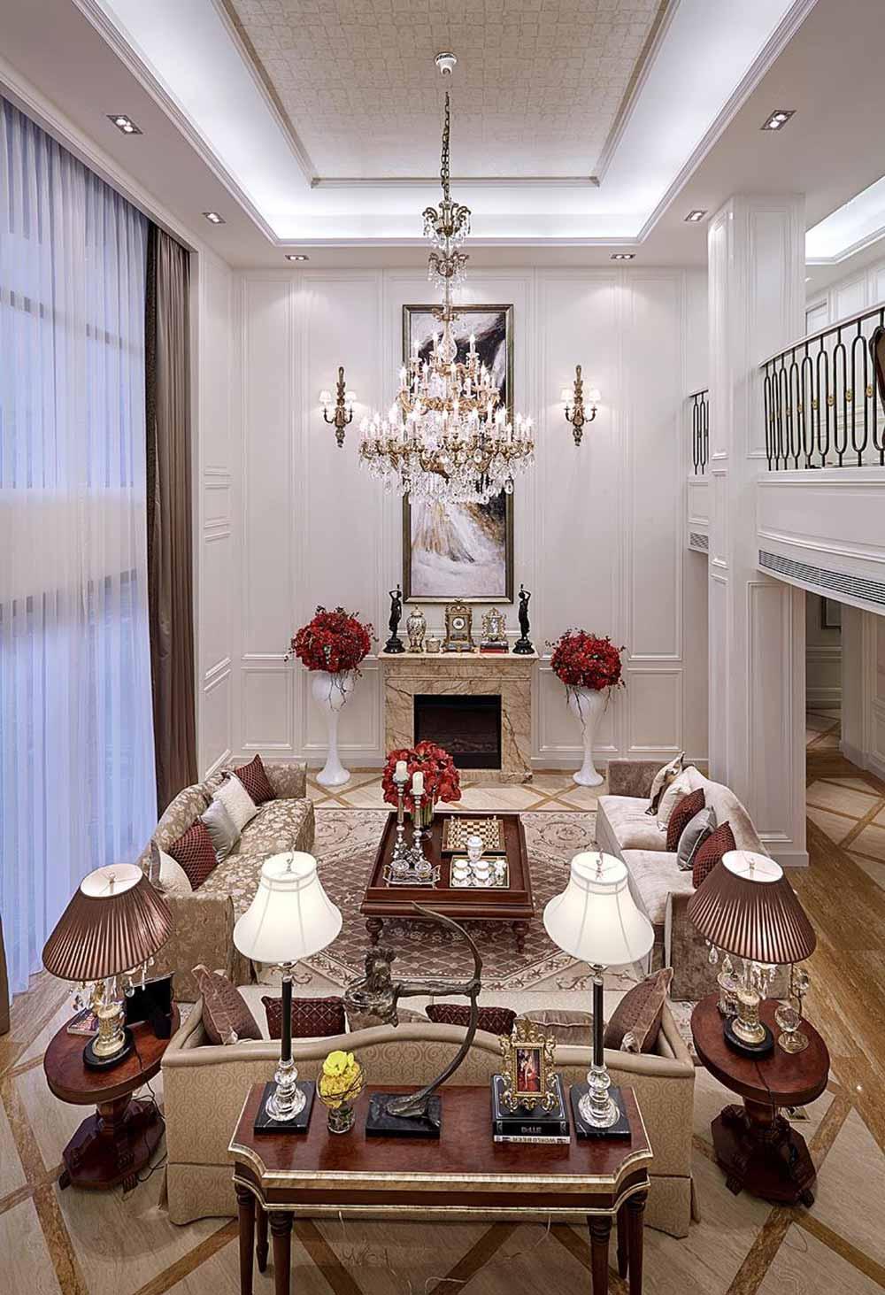 欧式风格别墅客厅装潢设计俯瞰图-兔狗装修效果图