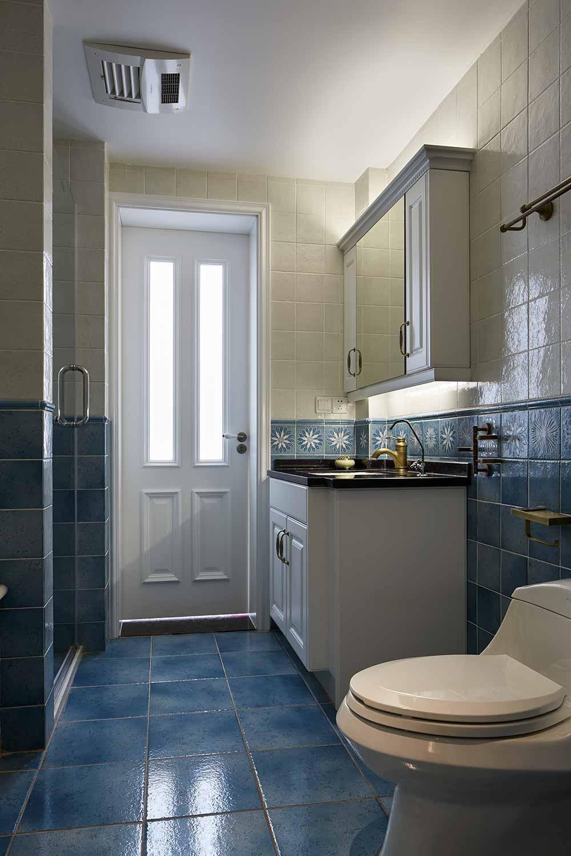 美式蓝色清爽卫生间装修设计图片-兔狗装修效果图