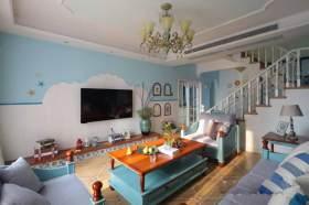 轻快明亮地中海风格复式客厅装潢