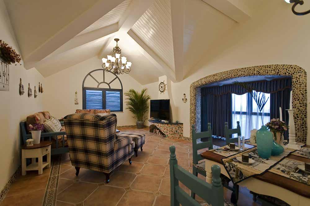 休闲优雅地中海式客厅设计整体效果图-兔狗装修效果图