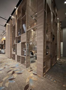 现代原木收纳展示柜设计