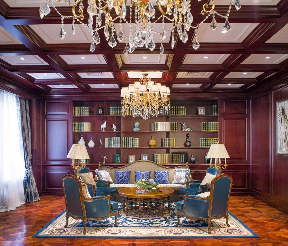 美式复古客厅装修设计图图片